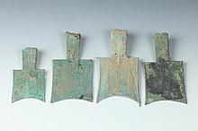 FOUR CHINESE BRONZE HOLLOW HEAD SPADE COINS, Warring States Period. - Largest: 4 1/8 in. high.