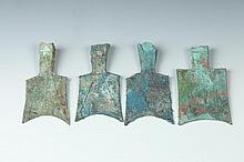 FOUR CHINESE BRONZE HOLLOW HEAD SPADE COINS, Warring States Period. - Largest: 3 1/2 in. high.