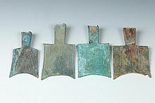 FOUR CHINESE BRONZE HOLLOW HEAD SPADE COINS, Warring States Period. - Largest: 3 3/4 in. high.
