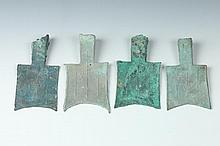 FOUR CHINESE BRONZE HOLLOW HEAD SPADE COINS, Warring States Period. - 4 in. high.