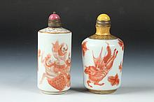 CHINESE IRON RED AND WHITE PORCELAIN ROULEAU SNUFF BOTTLE, Qianlong four character underglazed blue mark. - Larger: 3 in. high.