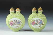 PAIR CHINESE FAMILLE ROSE PORCELAIN DOUBLE SNUFF BOTTLE, Daoguang seal mark. - 2 1/4 high.