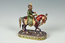 INDIAN SILVER-GILT, ENAMEL & RIVER CUT DIAMOND FIGURE OF NOBLEMAN ON HORSEBACK. Late 19th/Early 20th Century, Unmarked. - 3 7/8