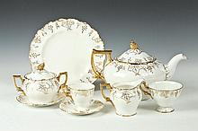 ROYAL CROWN DERBY PARTIALTEA/COFFEE SERVICE IN THE VINE PATTERN, SIXTY-FOUR PIECES TOTAL, 20th Century.