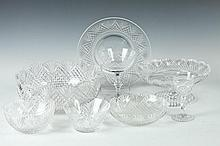 COLLECTION OF FORTY PIECES OF CUT COLORLESS CRYSTAL TABLEWARE;, 20th Century. - Largest bowl: 8 7/8