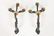 PAIR OF GILT AND PATINATED BRONZE FOUR-LIGHT WALL SCONCES, ca. 1840. Unmarked. - 13 3/8 in. x 11 1/8 in.