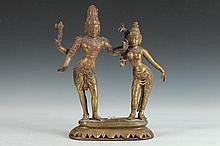 INDIAN BRASS DANCING FIGURES.
