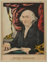19TH CENTURY COLORED ENGRAVING OF GEORGE WASHINGTON , FIRST PRESIDENT OF THE UNITED STATES, Medium folio.