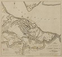 MAP OF YORKTOWN (RARE), 1787, published in London. - Matte opening 13 5/8 x 12 1/8 inches.