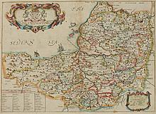 MAP OF SOMERSETSHIRE BY RICHARD BLOME, 1673. - Matte opening: 13 13/16 x 10 1/4 inches.