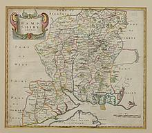 MAP OF HAMPSHIRE COUNTY, ENGLAND, 18th Century. - Matte opening: 16 3/4 x 14 1/4 inches.
