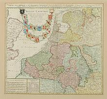 MAP OF THE NETHERLANDS, Published by Homann Heirs in 1748. - 20 1/2 x 19 inches.