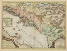 MAP OF DALMATIA BY JEAN BAPTISTE NOLIN, c. 1704.