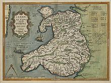 MAP OF WALES BY ARAHAM ORTELIUS, c. 1595.