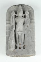 INDIAN GREY STONE FIGURE OF VISHNU STELE. - 17 in. high.
