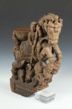 INDIAN WOOD FRAGMENT FROM A TEMPLE DEPICTING CHARIOT GROUP OF HORSE AND RIDER, 17th/18th century. - 22 in. high.