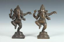 TWO INDIAN BRONZE FIGURES OF GANESHA, 20th Century. - 6 1/2 in. high.