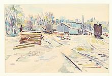 F. RICHARDSON MURRAY (American, 1889 - 1973). RAILROAD STOP, watercolor.