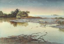 JOAN HOWE (American, 20th century). STARLIT LANDSCAPE, signed lower left. Watercolor.