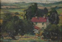 AMERICAN SCHOOL (20th century). LANDSCAPE WITH HOUSE, oil on board.