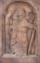 CARVED WOODEN PLAQUE OF ST. JOHN THE BAPTIST, 20th century. - 31