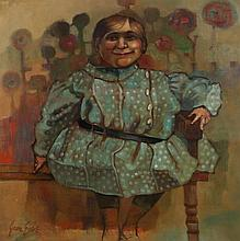 JOAN ERBE (American, 1926-2014). IMAGE OF THE PAST, signed lower left and titled on label verso. Oil on canvas.