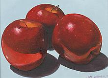 SAL SALINERO (American, b. 1941). THREE APPLES, signed and dated -95 lower right; titled on verso. Oil on board.