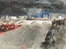 GIOVANNI CHECCHI (Italian, b. 1927). PONTE TESTACCIO, signed lower middle. Watercolor and ink.