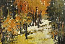MARIANNE GRANT (British, b. 1931). EUROPEAN STREET SCENE and AUTUMN LANDSCAPE: TWO WORKS, first; signed lower right. Second; signed and