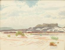 JAMES GUILFORD SWINNERTON (American, 1875-1974). DESERT CLOUDS, signed and titled lower right. Oil on board.
