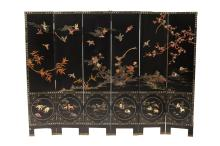 CHINESE BLACK LACQUER SOAPSTONE INLAID SIX FOLD SCREEN. - 16 in. x 74 in.