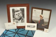 GROUP SIGNED PHOTOGRAPHS AND OTHER PRESIDENT JOHN F. KENNEDY AND TED KENNEDY RELATED MATERIAL.