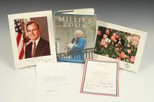 FOUR VARIOUSLY AUTOGRAPH-SIGNED ITEMS BY PRESIDENT GEORGE H.W. BUSH, BARBARA BUSH AND WHITE HOUSE DOG MILLIE,