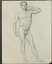 ALLYN COX (American , 1896 -1982). Study of Nude Man Holding Barbells, graphite on paper, early work.