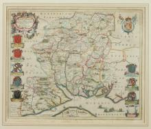 MAP OF HAMPSHIRE ENGLAND BY BLAU, c. 1645-1648, Amsterdam; 1770. - Matte opening : 20 1/2