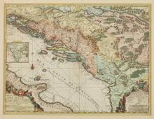 MAP OF DALMATIA BY JEAN BAPTISTE NOLIN, c. 1704. - Framed ; with frame 31 1/8 in. x 25 1/2 in.