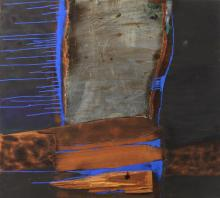 BENJAMIN WIGFALL (African-American born 1930). DARK PASSAGE and BURNING WITH SILVER: TWO WORKS, oil on wood panel.
