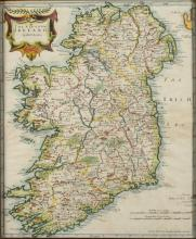 MAP OF IRELAND BY ROBERT MORDEN,             . - 13 1/2 x 16 1/2 inches.