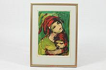 ARIE WACHENHAUZER (German, 1918 - 1998). MOTHER AND CHILD, signed in pencil lower margin. Color lithograph.