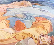 SALLY AMSTER (American, 1938-1988). THE LEDGE AND THE SEA, signed and dated '79 lower left; also, titled on label verso. Oil on canvas
