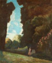 FRENCH  SCHOOL (Early 20th century). PARK SCENE WITH LADIES, signed illegibly  lower left. Oil on canvas.