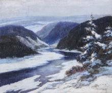 LADISLAV SPITNIK (Continental , 19th/20th century). ALPINE SCENE, signed lower right. Oil on canvas.