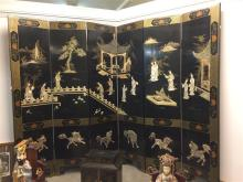 CHINESE MOTHER-OF-PEARL AND SOAPSTONE INLAID BLACK LACQUER SIX FOLD SCREEN, - 16 in. x 68 in.