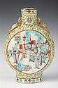 CHINESE FAMILLE ROSE PORCELAIN MOON FLASK. 19th Century. - 8 1/4 in. high.
