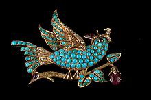 YELLOW GOLD, TURQUOISE, RUBY AND DIAMOND BIRD-ON-BRANCH DESIGN PIN. - L: 2 1/4 in.