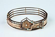 ANTIQUE RUSSIAN YELLOW GOLD, SEED PEARL AND TURQUOISE HINGED OVAL BANGLE BRACELET., Signed. Ca. 1875.