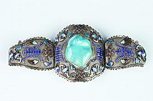 CHINESE SILVER, ENAMEL AND TURQUOISE THREE-PART HINGED CUFF BRACELET.