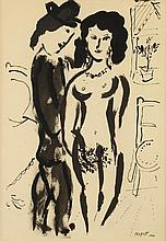 STYLE OF MARC CHAGALL. (French/Russian, 1887-1985). LE MARRIAGE (SELF PORTRAIT WITH BELLA), signed lower right. Ink and ink wash on pap