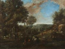 CONTINENTAL SCHOOL (19th century). LANDSCAPE WITH FIGURES AND LIVESTOCK, oil on canvas.