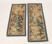 TWO CONTINENTAL TAPESTRY PANELS DEPICTING PUTTI FIGURES IN GARDEN SETTINGS , 19th/20th Century. - 51 1/2